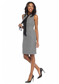 Kasper Circle Jacquard Tie Neck Dress