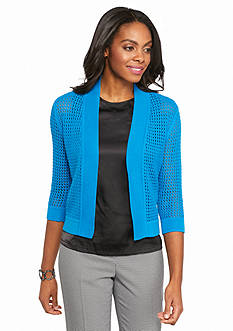 Kasper Plus Size Open Stitch Shrug Cardigan