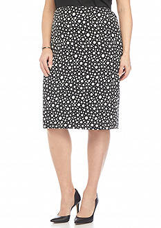 Kasper Plus Size Print Straight Skirt