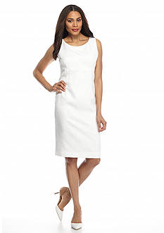 Kasper Beaded Neckline Jacquard Dress