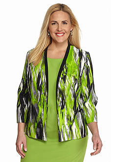 Kasper Plus Size Print Twill Jacket
