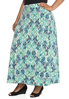 Kasper Plus Size Jersey Knit Long Skirt