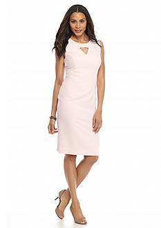 Kasper Stretch Crepe Keyhole Dress