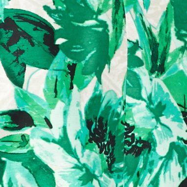 Kasper Suits: Green Kasper Hibiscus Print Flyaway Jacket