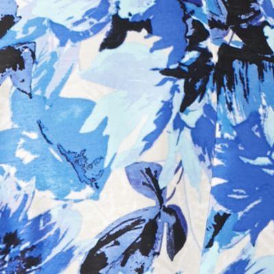 Kasper Suits: Blue Kasper Hibiscus Print Flyaway Jacket