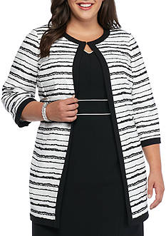 Kasper Plus Size Stripe Single Hook Topper