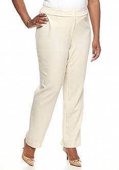 Kasper Plus Size Solid Slim Fit Pant