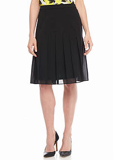 Kasper Solid Flounce Skirt