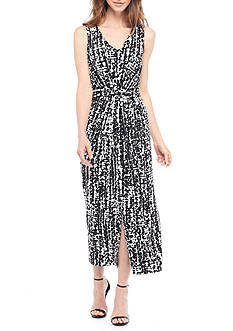 Kasper Printed Belted Maxi Dress