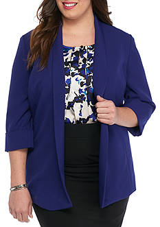 Kasper Plus Size Solid Open Front Topper