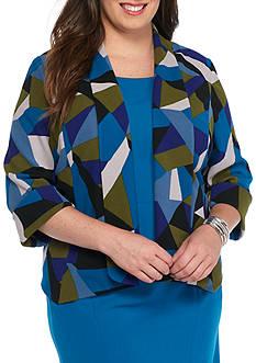 Kasper Plus Size Geo Print Flyaway Jacket