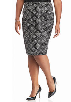 Kasper Plus Size Print Jacquard Skirt