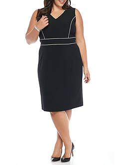 Kasper Plus Size Piped Detail Dress