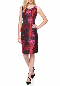 Kasper Floral Jacquard Sheath Dress