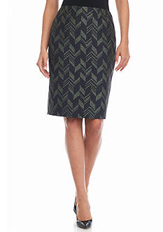 Kasper Jacquard Straight Skirt