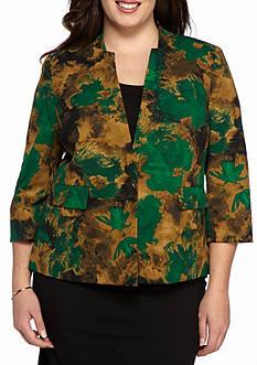 Kasper Plus Size Print Scuba Jacket