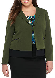 Kasper Plus Size Colorblock Zippered Jacket