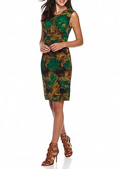 Kasper Print Scuba Crepe Dress
