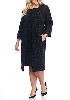 Kasper Plus Size Flocked Topper Jacket