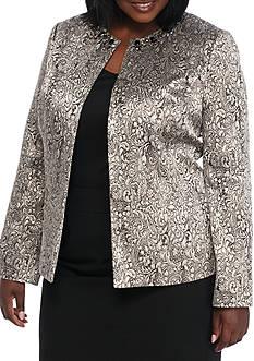 Kasper Plus Size Metallic Jacquard Flyaway Jacket