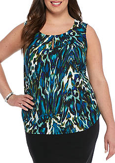 Kasper Plus Size Abstract Print Blouse