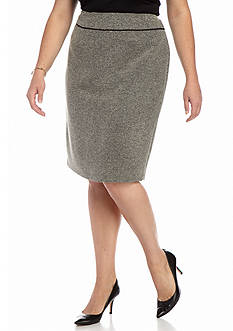 Kasper Plus Size Tweed Straight Skirt