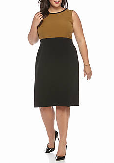 Kasper Plus Size Colorblock Sleeveless Dress