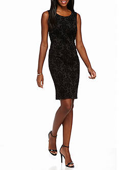 Kasper Flocked Sheath Dress