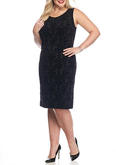 Kasper Plus Size Flocked Sheath Dress