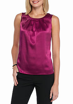 Kasper Solid Charm Pleat Blouse