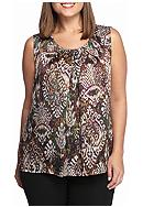 Kasper Plus Size Print Sleeveless Blouse