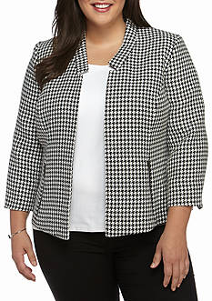 Kasper Plus Size Houndsthooth Jacket