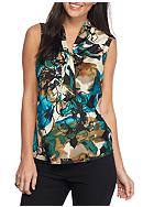 Kasper Printed Tie Neck Blouse