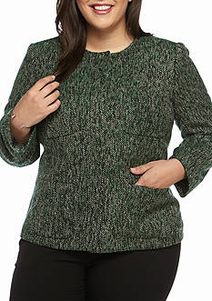 Kasper Plus Size Tweed No Collar Jacket