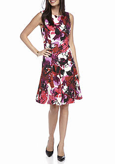 Kasper Floral Print Scuba Dress