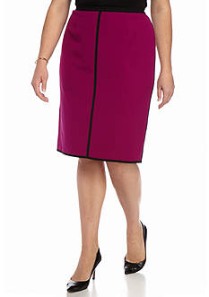 Kasper Plus Size Seamed Straight Skirt