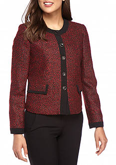 Kasper Petite Tweed Four Button Jacket