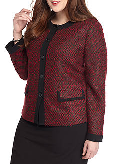 Kasper Plus Size Tweed Four Button Jacket