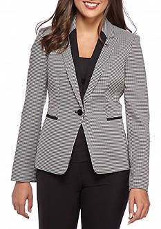 Kasper Petite One Button Houndstooth Jacket