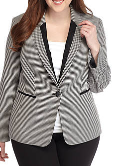 Kasper Plus Size One Button Houndstooth Jacket