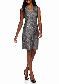 Kasper Swirl Jacquard Sheath Dress