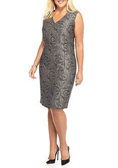Kasper Plus Size Swirl Jacquard Sheath Dress