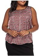 Kasper Plus Size Woven Houndstooth Print Blouse