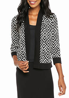 Kasper Chevron Open Front Sweater