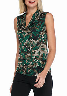 Kasper Print Drape Neck Top