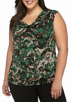 Kasper Plus Size Print Drape Neck Top