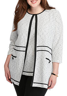 Kasper Plus Size Seamed Long Knit Cardigan