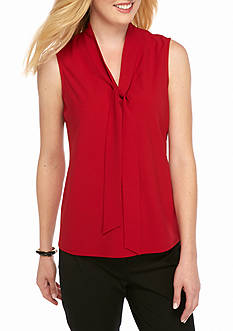 Kasper Solid Sleeveless Blouse