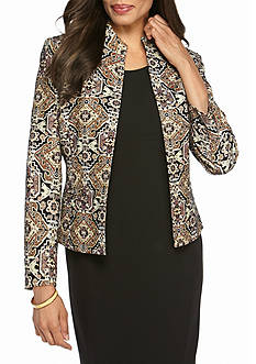 Kasper Petite Patterned Open Front Jacket