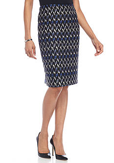 Kasper Printed Tweed Skirt